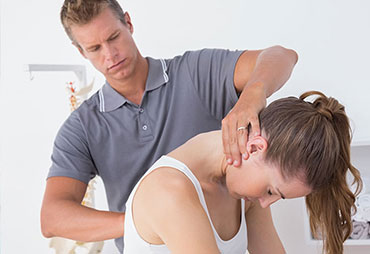 Patient getting a chiropractic adjustment after an auto accident