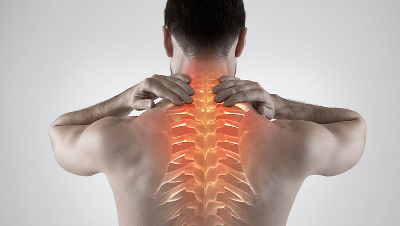 Man holding his neck in pain